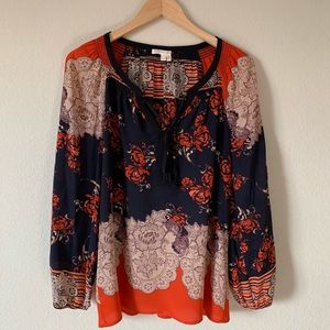 Anthro Meadow Rue Blossom Peasant Silk Blouse